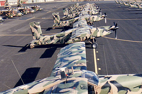 Porters lined up at the Army Aviation Centre at Oakey in the 80s. Credit: PC-6.com via Defence
