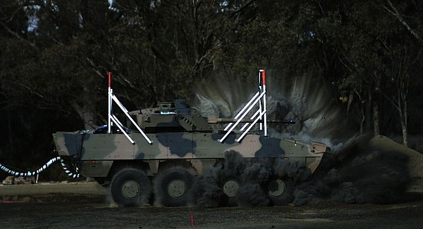 The AMV35 is subjected to a simulated IED blast test. Credit: Defence