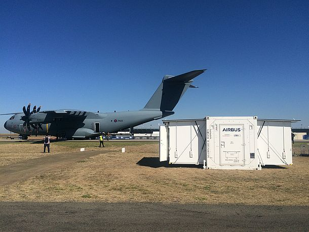 Airbus D&S/Siemens Healthineers TransHospital unit on display at the recent Avalon Airshow. Credit: AirbusD&S
