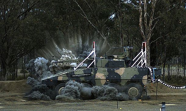 The Rheinmetall Boxer CRV is subjected to a simulated IED blast test. Credit Defence