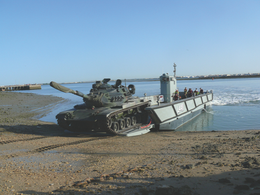 Acceptance testing in Cadiz Harbour included using a Spanish Marines M-60 Main Battle Tank as a representative load. Credit: Defence