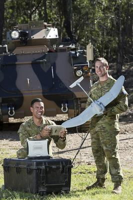 Army soldiers from 2nd/14th Light Horse Regiment (Queensland Mounted Infantry) with a Wasp AE small unmanned aircraft vehicle at Gallipoli Barracks, Brisbane during a demonstration conducted in October 2016. Credit: Defence