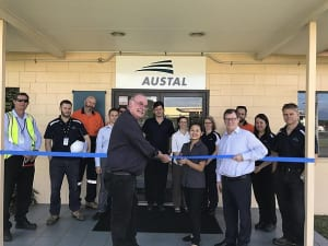 Local MP Warren Entsch (L) joined Austal's vice president (Defence) RADM (Retd) Davyd Thomas to open Austal's office in Cairns Queensland on 10th July. Credit: Austal