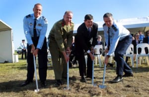 L-R) Air Commodore Steven Roberton, Brigadier Noel Beutel, The Honourable Kevin Andrews, MP Minister for Defence and Air Commodore Terrence Saunder announce commencement of the R8000 New Air Combat capability Facilities project with the turning of the sod at RAAF Base Williamtown.
