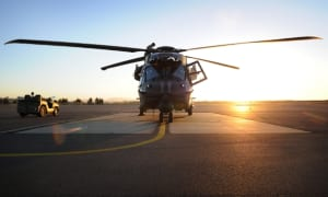 An Australian Army MRH-90 helicopter on a hard standing at RAAF base Townsville ahead of Exercise Hamel 2014.