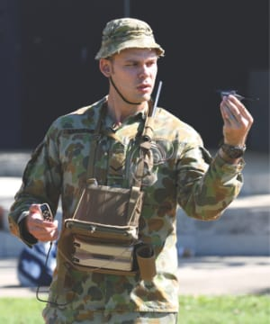 Australian Army soldier Lance Corporal Davide Sargeant, 6th Battalion, Royal Australian Regiment, views the PD-100 Nano air vehicle at Gallipoli Barracks, Enoggera. Credit: Defence