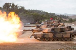 Australian Army M1A1 Abrams tanks fire at the range during Exercise Jericho Dawn at Puckapunyal, Victoria, on 18 March 2016. Credit: Defence