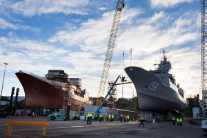 HMAS Toowoomba in final preparations to undock after 12 months undergoing maintenance and capability upgrades at Henderson Dockyard, Western Australia. 