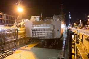 HMAS Adelaide entered the Captain Cook Graving dock on 17th May so further investigations into the issues affecting the ships's two azimuth propulsion pod systems could be conducted. Credit: Defence