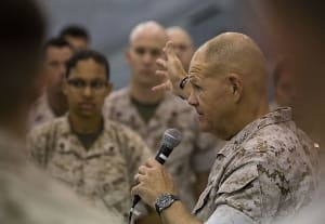 The 37th Commandant of the Marine Corps Gen. Robert Neller, speaks to Marines of Marine Corps Air Station Yuma, Arizona about his expectations for the Corps' future during his visit to the station Oct. 7, 2015. Credit: USMC SGT Travis Gershaneck
