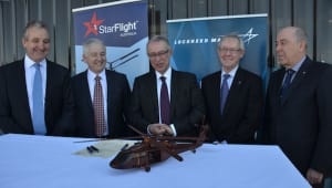 Commemorating the deal signing are (from left to right): StarFlight and Kaan Air Australia CEO, John Skeen; Sikorsky Australia General Manager, Andrew Rushbrook; KAAN Air Australia Chairman, Ferda Yildiz; Lockheed Martin Rotary and Mission Systems Australia Director, Neale Prescott; and, Rob Borbidge, Chairman, LifeFlight Australia. Credit: Lockheed Martin