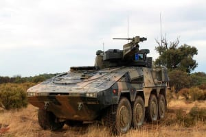 One of Rheinmetall's Boxer CRV test vehicles during the current Risk Mitigation Activity. Credit: Rheinmetall Defence Australia