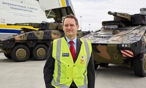 Gary Stewart at the time of the delivery of the first two Rheinmetall Boxer CRVs to Australia. Credit: RDA