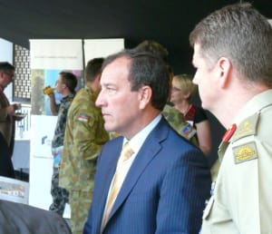 Minister for Defence Materiel and Science Mal Brough with MAJGEN Gus McLachlan as they toured the industry showcase. Credit: ADM Patrick Durrant