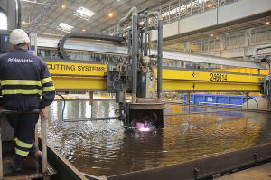 First steel is cut at Navantia's shipyard in Ferrol, Spain. Credit: Navantia