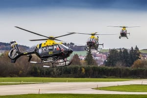 Three ADF EC135s during the final delivery event in Donauwörth, Germany. The H135 family is part of successful training systems in Germany, Switzerland, Spain and Japan, and has recently been selected in the UK. Credit: Airbus Helicopters