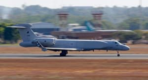 A Republic of Singapore Air Force G550 Conformal Airborne Early Warning (CAEW) aircraft lands at RAAF Base Darwin as part of Exercise Pitch Black 2016. Credit: Defence