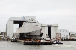 LCS 10 (USS Gabrielle Gifford) built by Austal USA is rolled out of their production facility in Mobile, Alabama. Credit: Austal USA
