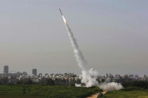 A Tamir interceptor missile firing as part of the Iron Dome system. Credit: Rafael Shaul Golan