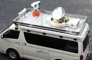 EM Solutions broadband on-the-move terminal atop a communications node being deployed for disaster recovery operations