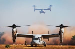 USMC MV-22 Ospreys landing during Ex Talisman Sabre 15. This year's rotation will mark the first time an Osprey detachment has been included. Credit: Defence