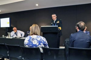RADM Greg Sammut speaking at Pacific 2017. Credit: CASG via Twitter