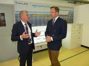 Thales Australia CEO Chris Jenkins (L) talks with AMGC MD Dr Jens Goennemann at Thales' Rydalmere facility in Sydney. Credit: ADM (Patrick Durrant)
