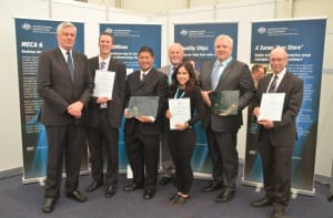 The Innovation Award winners. (L-R) VADM Chris Ritchie (retd), Chairman Maritime Australia Limited; Peter Andrews from H.I Fraser; Alex Chan MD AirBerth; Gregor Ferguson - Maritime Australia; Christina Hawkins Director Pivot Maritime Integration; Dr Mark Hodge CEO DMTC AIRCDRE John Oddie (retd) MD Aero Medical Integration Credit: Maritime Australia