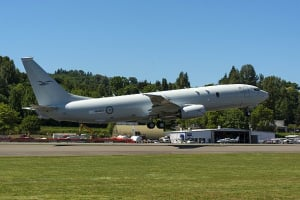 The first P-8A aircraft for the Royal Australian Air Force leaves Renton Field for Boeing Field in nearby Seattle, marking its transfer from Commercial Airplanes to Boeing Defense, Space & Security for final completion. Credit: Defence