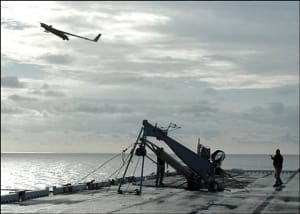 ScanEagle launched from a US Navy vessel. Credit: USN