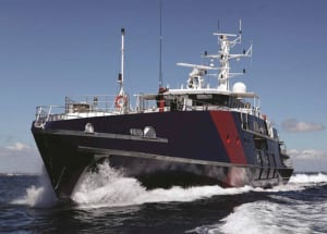 The ABF's Cape class patrol boat Cape St George. Eight of the ABF's vessels have been fitted with the new terminals. Credit: Austal