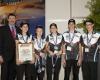 Minister Kelly with MOTION RACING, from Engadine High School NSW, the 2013 F1 in Schools National Champions (Professional Class). [Photo:Defence]