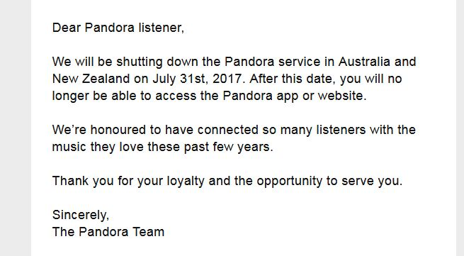 Pandora Breaks The News Of Its ANZ Closure To Customers