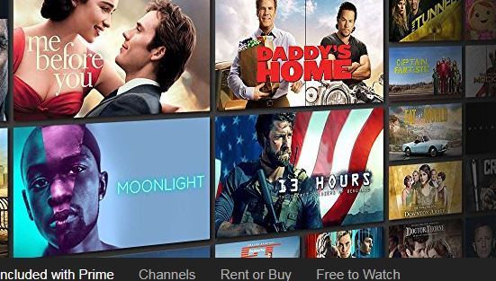 Amazon offers Prime, channels, free to watch, rent or buy