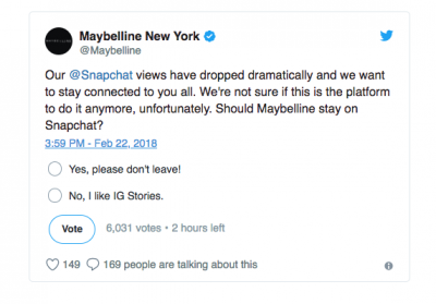 Maybelline deletes tweet polling followers if it should stay on Snapchat