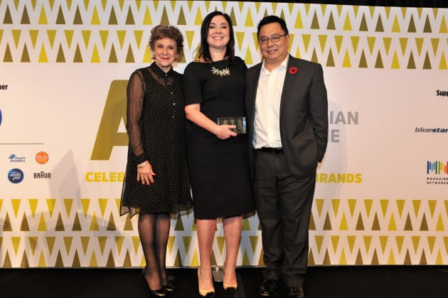 Julia Zaetta, Nicole Sheffield and Nick Chan at the Australian Magazine Awards