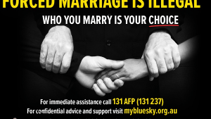 Forced marriage awareness advertising campaign at Sydney Airport