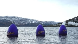 Cadbury drops giant Easter eggs into the Loch Ness
