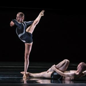 Sydney Dance Company dancers Juliette Barton and Cass Mortimer Eipper in Rafael Bonachela's Emergence. Photo by Peter Greig.