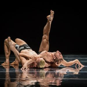 Sydney Dance Company dancers Thomas Bradley and Cass Mortimer Eipper in Rafael Bonachela's Emergence.  Photo by Peter Greig.