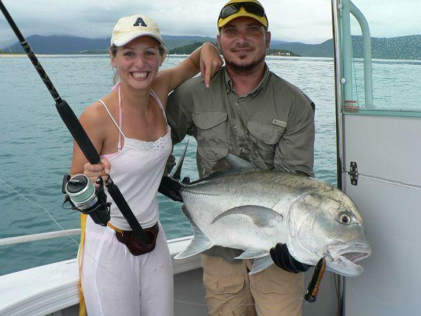 Shane Rollas sent in pic of fiance Lisa and a Whitsundays GT she caught with gun guide Alan Mackay.