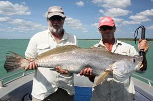 John Newbery gets a hand with a nice Melville Island black jew from gun guide Mark West.