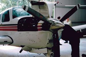 A Beech A36 Bonanza in the maintenance hangar. (Steve Hitchen)