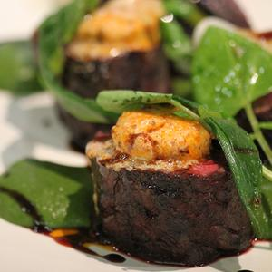 ... Ranger's Valley hanger steak with kimchi butter and spring onion puree