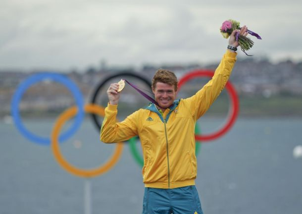 Tom Slingsby congratulates Tom Burton on Olympic Gold