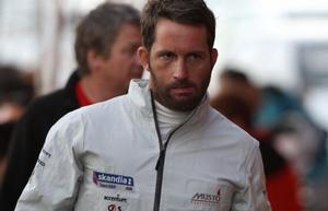 Not a happy man. Ben Ainslie leaves the rigging area to prepare his defence for the Rule 69 hearing.