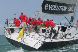 Ray Roberts TP52 Evolution Racing took line honours at the Top of the Gulf regatta, Thailand.  Photo copyright Roger McMillan.