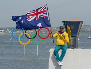 Malcolm Page with his Olympic gold medal. Photo OnEdition.