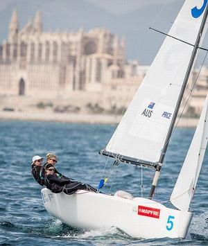 Olivia Price and crew racing in Palma. Photo MartinezStudio/Sofia Mapfre.