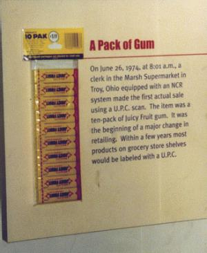 The original scan: the Wrigley's Juicy Fruit ten-pack, now in the Smithsonian Institution, which in 1974 was the first consumer product ever to have its barcode scanned.